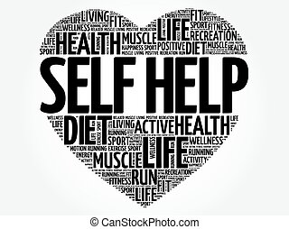 Self Help heart word cloud, fitness, sport, health concept