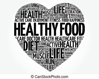 Healthy Food heart word cloud, fitness, sport, health...