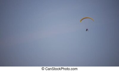 Motor Paraglider in Winter - Motor Paraglider in Sky, Winter...