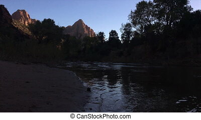 Zion National Park - Virgin River low angle Zion National...