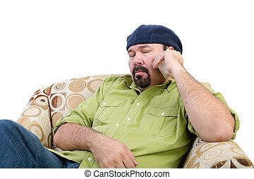 Bored overweight man using a mobile - Bored overweight man...