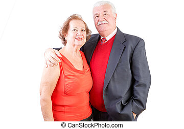 Senior couple celebrate Valentines Day together standing arm...