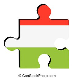 Isolated Hungarian flag - Isolated piece of puzzle with the...