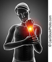 Men Feeling the Wrist Pain - 3d Illustration of Men Feeling...