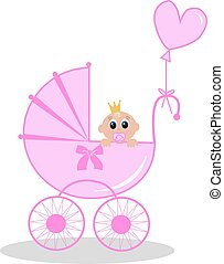newborn baby girl - illustration of a newborn baby girl