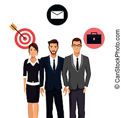 teamwork business people group icons