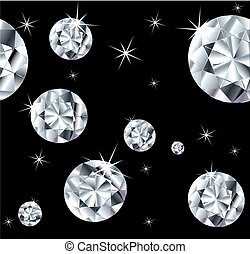 Set jewels on a seamless background. Vector version