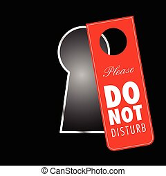 do not disturb on keyhole in red color illustration
