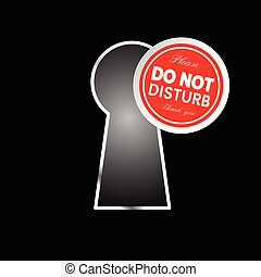 do not disturb circle on keyhole in red color illustration
