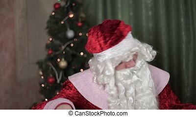 Closeup portrait of Santa Claus dances, new year, christmas...