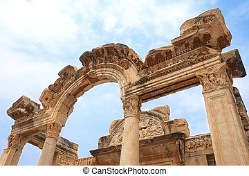 Temple of Hadrian in ancient city of Ephesus, Turkey
