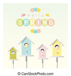Hello spring background with little birds in birdhouses 1