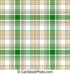 Green gold white check fabric texture seamless pattern