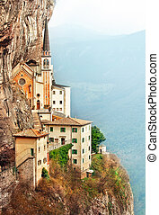 Stone steps of stairs Madonna della Corona - Stone steps of...