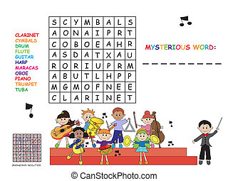 crossword - game for children: easy crossword