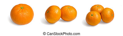 Fresh ecological clementines on a white background