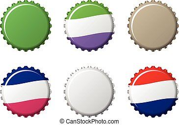 bottle caps in difference colors, vector illustration