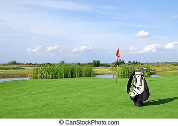 golf field with flag and golf bag