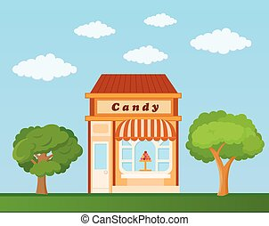 Candy store front view on nature background, vector illustration