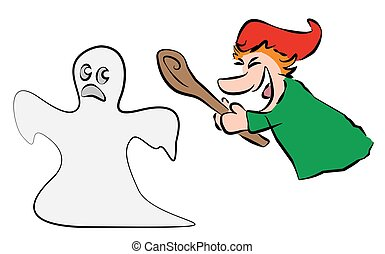 Punch Chases Ghost Away - Brave punch chases and hits a...