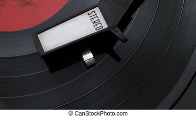 Vintage vinyl stereo record player. 4k video stock footage.