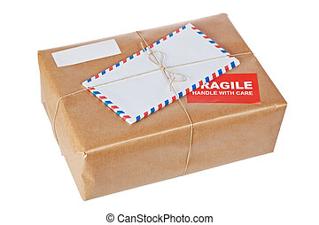 Fragile package - A fragile parcel wrapped in brown paper...