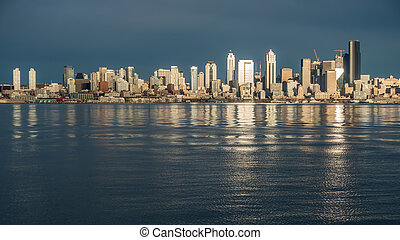 Seattle Skyline Reflections Panorama 3