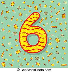 six number birthday greeting design
