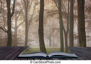Stunning colorful moody vibrant Autumn Fall foggy forest landscape coming out of pages of book