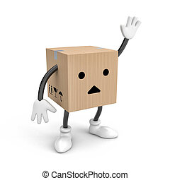 Character cardboard box says bye(or Hello). 3d illustration