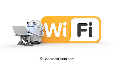 Robot with a laptop, sitting by leaning on the wifi sign. 3d illustration