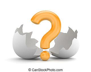New idea - question and broken chicken egg. 3d illustration