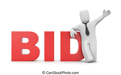 Bid. Business concept - Business concept. Isolated on white