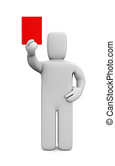 Person showing a red card - Image contain the clipping path