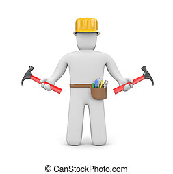 Skilled worker - Manual worker. Isolated on white