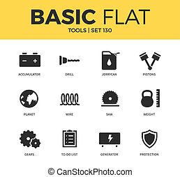 Basic set of Tools icons - Basic set of wire, gears and...