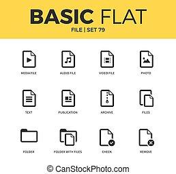 Basic set of file icons - Basic set of archive, audio file...