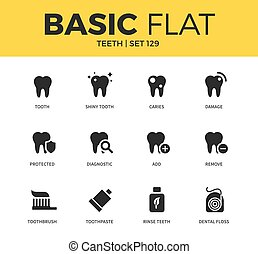 Basic set of Teeth icons - Basic set of shiny tooth, rinse...