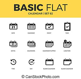 Basic set of Calendar icons - Basic set of time form, day...