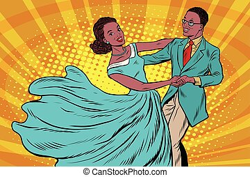 Prom, couple girl and boy dance. Pop art retro vector...