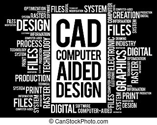 CAD - Computer Aided Design word cloud, business concept...