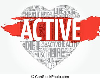 ACTIVE heart word cloud, fitness, sport, health concept