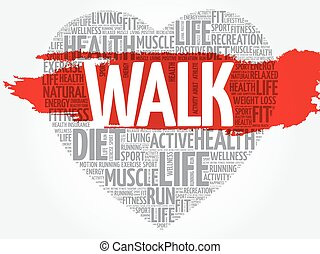 WALK heart word cloud, fitness, sport, health concept