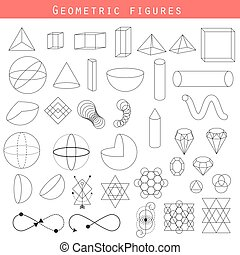 Geometry outline vector shapes. Mathematical and sacred...
