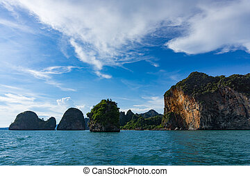Island cliffs in turquois sea and blue sky, Railay Thailand