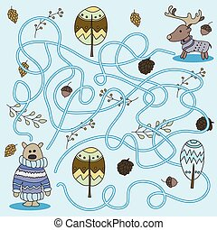 Cartoon of Education - Game for Preschool Children. Vector