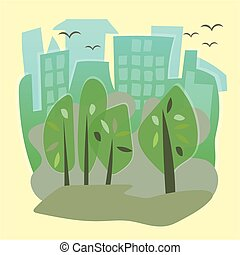 Vector illustration of a city park with town building