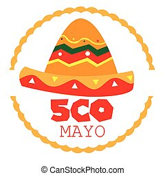 Cinco de mayo - Isolated tag with a mexican hat and text,...