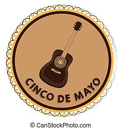 Cinco de mayo - Isolated tag with a silhouette of a guitar,...