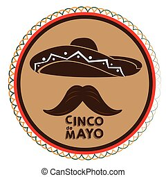 Cinco de mayo - Isolated tag with a silhoette of a mexican...